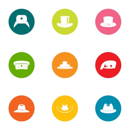 Head warm icons set. Flat set of 9 head warm vector icons for web isolated on white background Illustration