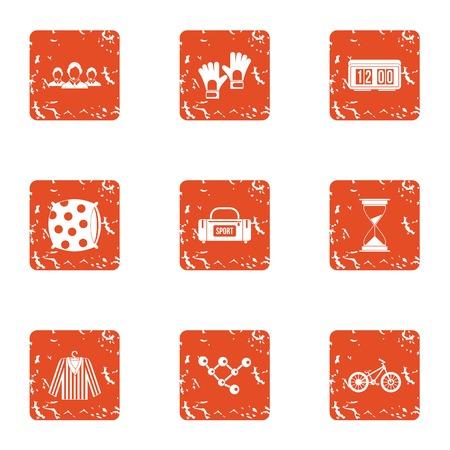 Athletic resort icons set. Grunge set of 9 athletic resort vector icons for web isolated on white background Illusztráció