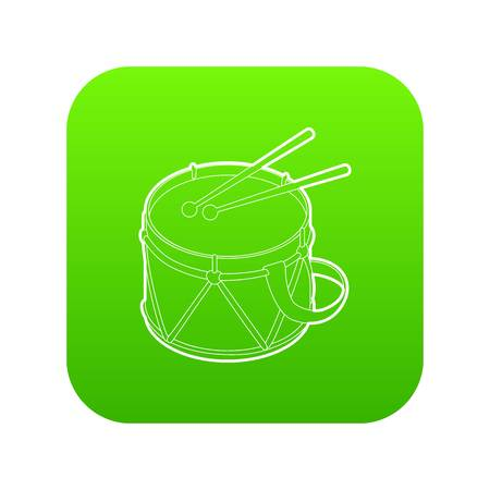 Toy drum icon green vector isolated on white background