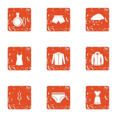 Woman way icons set. Grunge set of 9 woman way vector icons for web isolated on white background