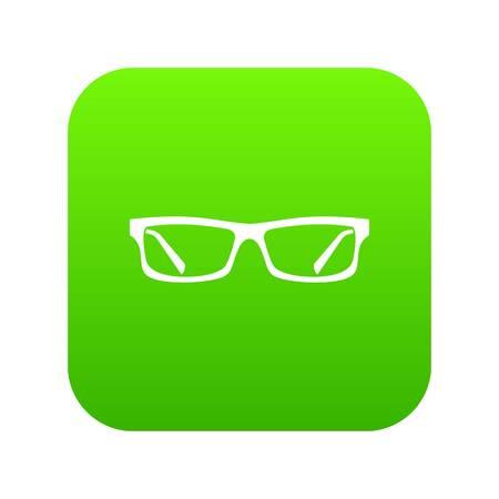 Eye glasses icon digital green for any design isolated on white vector illustration Illustration