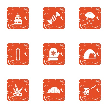 Hot party icons set. Grunge set of 9 hot party vector icons for web isolated on white background 일러스트