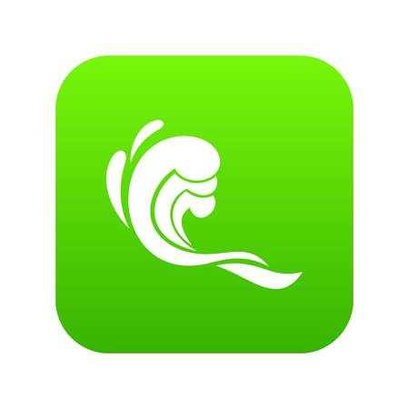 Water wave icon digital green for any design isolated on white vector illustration Иллюстрация