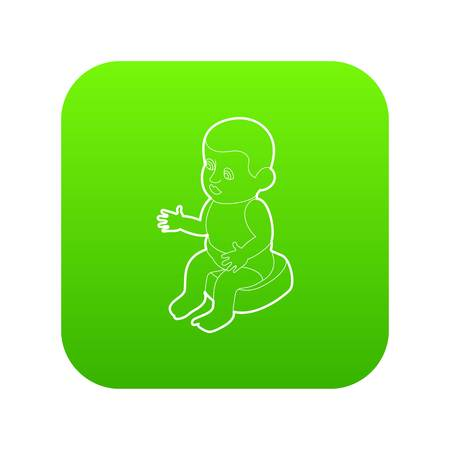 Doll sitting on the potty icon green vector