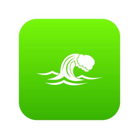 Foamy wave icon digital green for any design isolated on white vector illustration