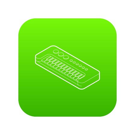 Toy synthesizer icon green vector isolated on white background