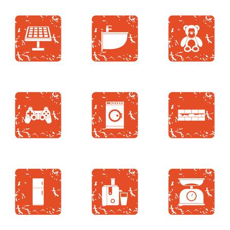 Working at home icons set. Grunge set of 9 working at home vector icons for web isolated on white background