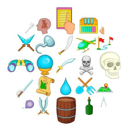 Archeology icons set, cartoon style