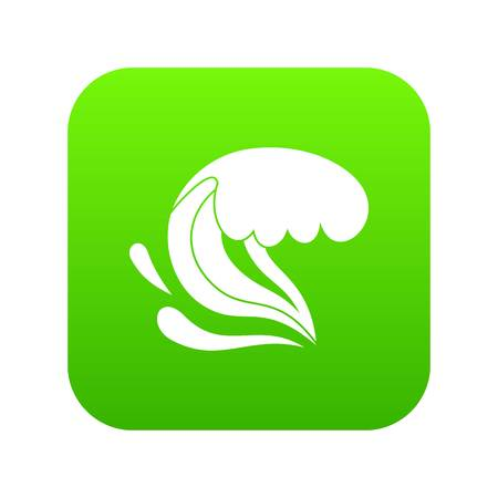 Surf wave icon digital green for any design isolated on white vector illustration Иллюстрация