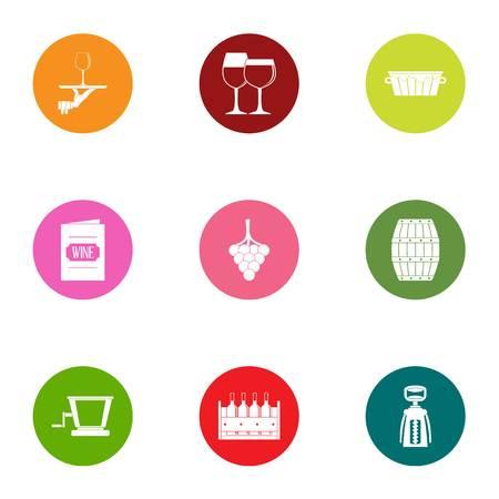 Denatured alcohol icons set. Flat set of 9 denatured alcohol vector icons for web isolated on white background