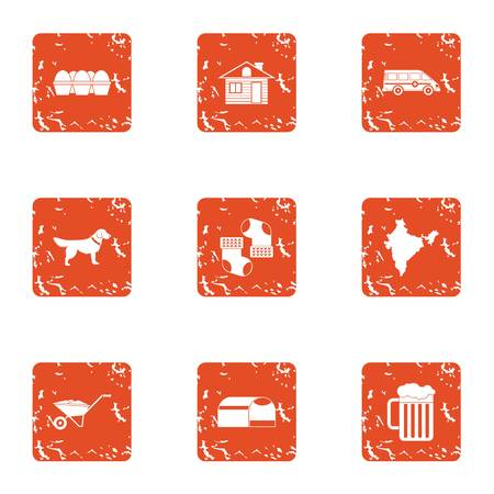 Winter home icons set. Grunge set of 9 winter home vector icons for web isolated on white background Vectores
