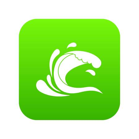 Water wave splash icon digital green for any design isolated on white vector illustration
