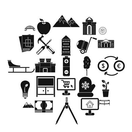 Apartment house icons set. Simple set of 25 apartment house vector icons for web isolated on white background Ilustração