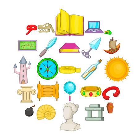 Archaeology icons set, cartoon style Ilustrace