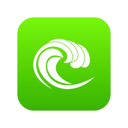 Wave of sea tide icon digital green for any design isolated on white vector illustration