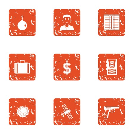 Cash office icons set, grunge style