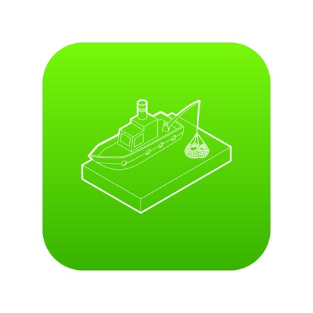 Fishing boat icon green vector isolated on white background