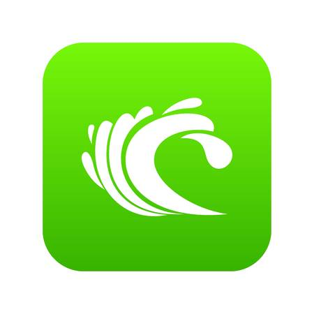 Wave icon digital green for any design isolated on white vector illustration
