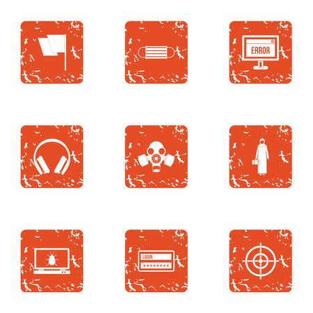 Computer error icons set. Grunge set of 9 computer error vector icons for web isolated on white background Vetores