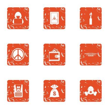 Happy money icons set. Grunge set of 9 happy money vector icons for web isolated on white background Ilustração