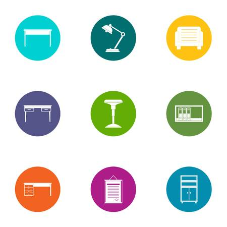 Desktop icons set. Flat set of 9 desktop vector icons for web isolated on white background