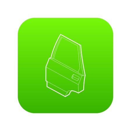 Car door icon green vector Illustration