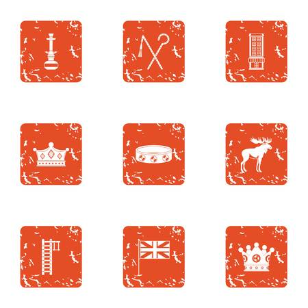 Ancient jewelry icons set. Grunge set of 9 ancient jewelry vector icons for web isolated on white background