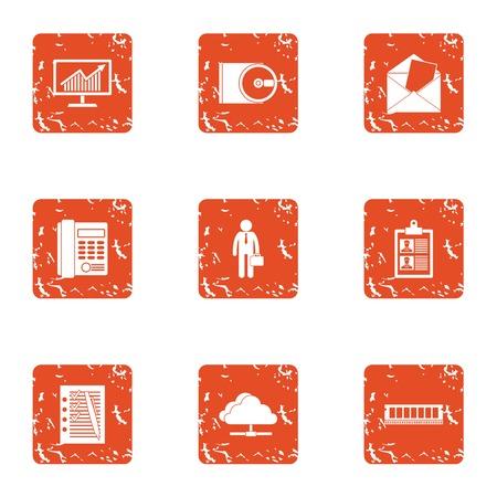 Entrepreneurial activity icons set. Grunge set of 9 entrepreneurial activity vector icons for web isolated on white background