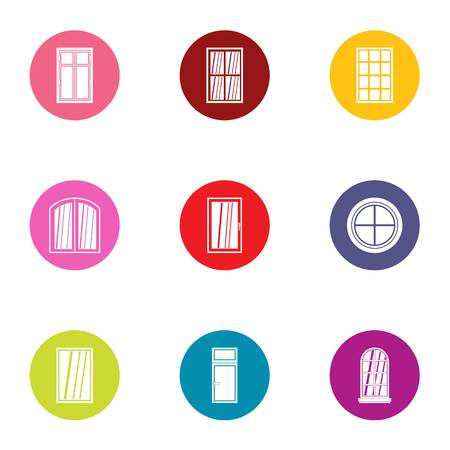 French door icons set, flat style