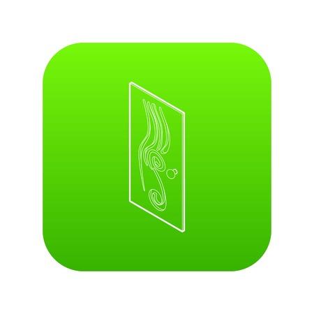 Icône de porte décorée vecteur vert isolé sur fond blanc