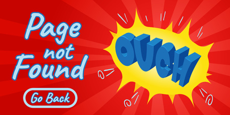 Page not found concept banner. Isometric banner of page not found comics vector concept for web, giftcard and postcard