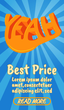 Best price concept banner. Isometric banner of best price comics vector concept for web, giftcard and postcard