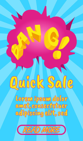Quick sale concept banner. Isometric banner of quick sale comics vector concept for web, giftcard and postcard