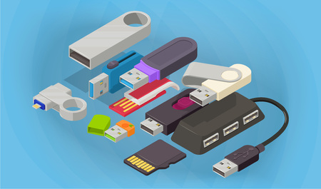 Flash drive concept banner. Isometric banner of flash drive vector concept for web, giftcard and postcard