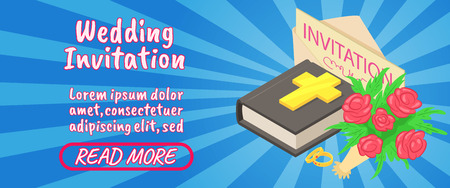 Wedding invitation concept banner. Isometric banner of wedding invitation comics vector concept for web, giftcard and postcard