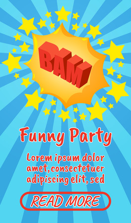 Funny party concept banner. Isometric banner of funny party comics vector concept for web, giftcard and postcard