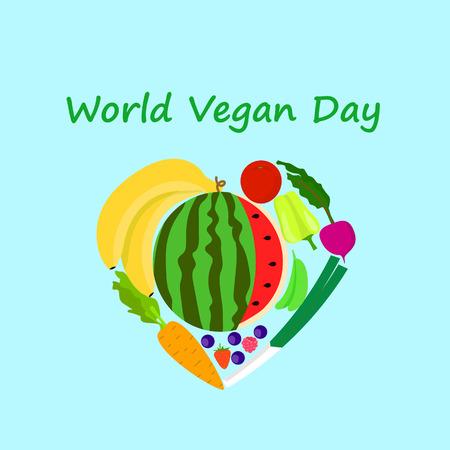 International vegan day concept background. Flat illustration of international vegan day vector concept background for web design