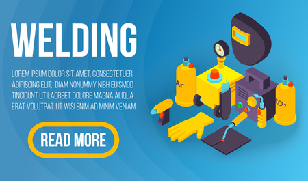 Welding concept banner, isometric style  イラスト・ベクター素材
