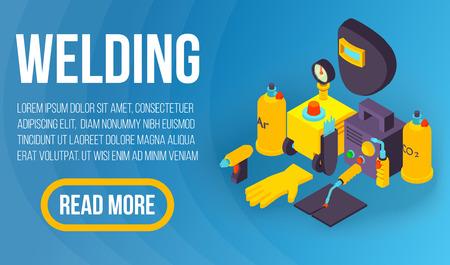 Welding concept banner, isometric style Ilustração