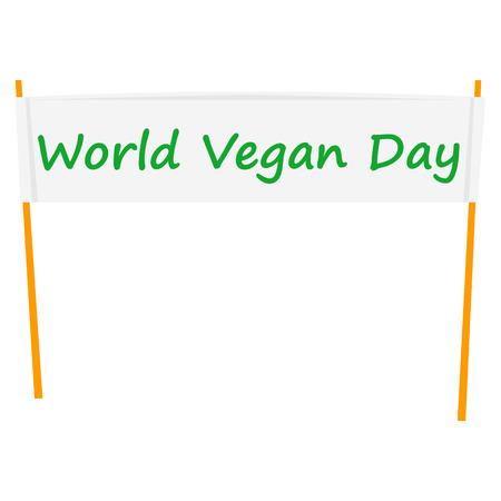 World vegan day banner icon, flat style Illustration