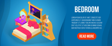 Bedroom concept banner, isometric style Illustration