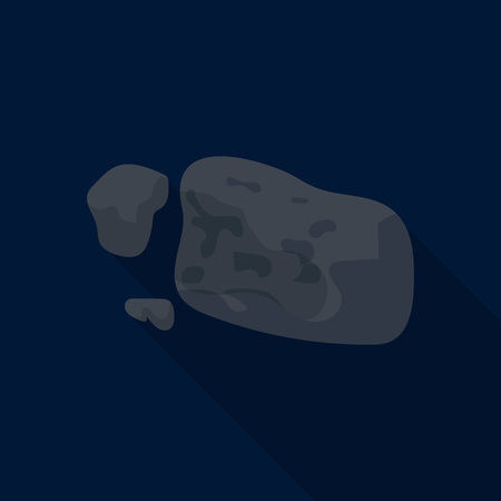 Space asteroid icon, flat style