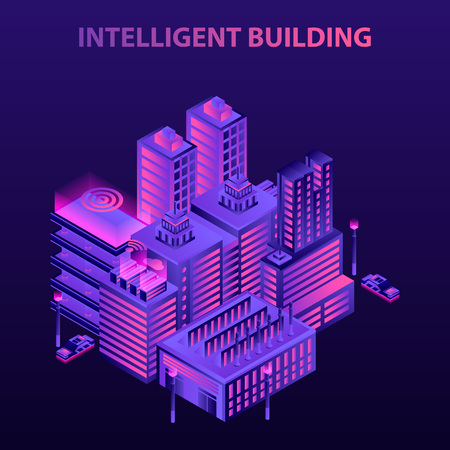 Intelligent building concept background. Isometric illustration of intelligent building vector concept background for web design Ilustração