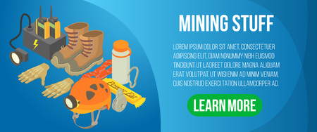 Mining stuff concept banner, isometric style