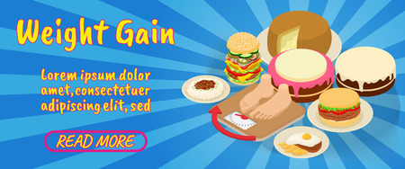 Weight gain concept banner. Isometric banner of lose weight gain comics vector concept for web, giftcard and postcard