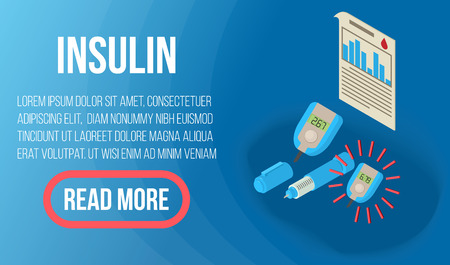 Insulin concept banner. Isometric banner of insulin vector concept for web, giftcard and postcard