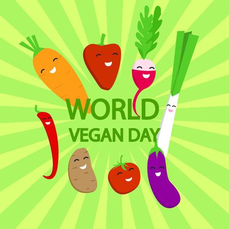 World vegan day concept background, flat style Illustration