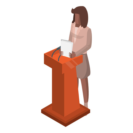 Woman at political debate icon. Isometric of woman at political debate vector icon for web design isolated on white background