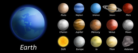 Galaxy planets icon set. Realistic set of galaxy planets vector icons for web design isolated on white background