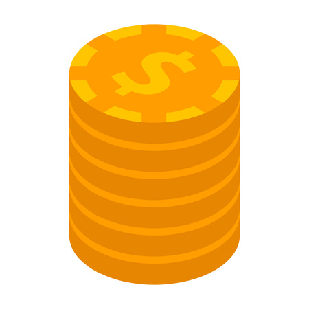 Dollar coin stack icon. Isometric of dollar coin stack vector icon for web design isolated on white background 向量圖像